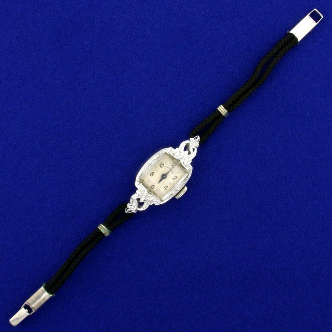 Antique Ladies Hamilton Diamond Watch with Solid 14K