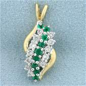 23ct TW Emerald and Diamond Pendant in 14K Yellow Gold