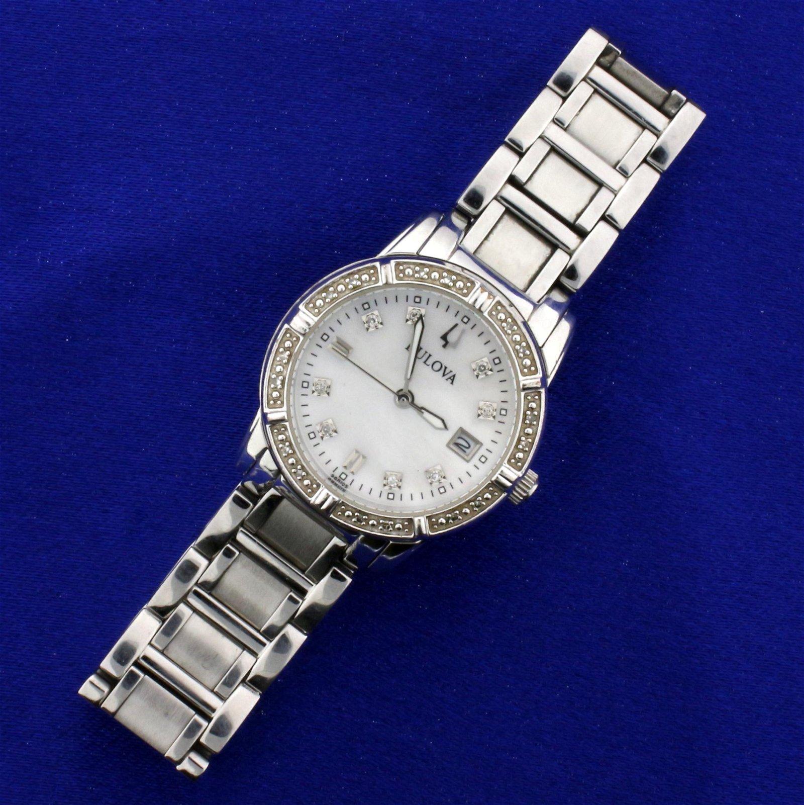Woman's Bulova Diamond Watch in Stainless Steel Model