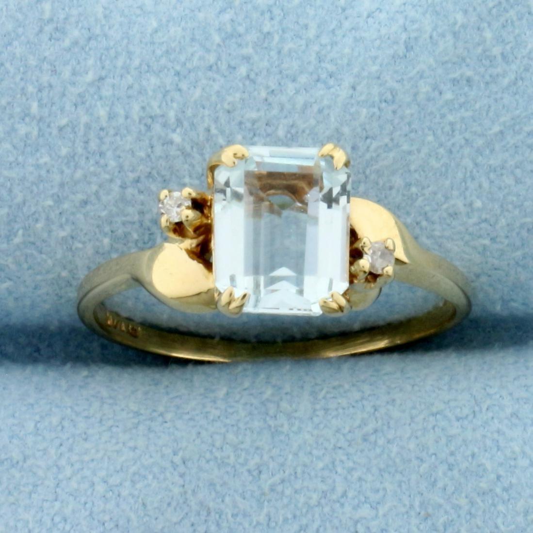 1.5ct Emerald Cut Aquamarine and Diamond Ring in 14K