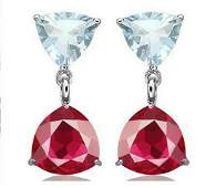 Aquamarine  Ruby Dangle Earrings in Sterling Silver
