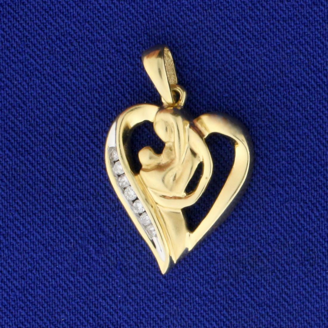 Mother Child Diamond Pendant in 14K Yellow Gold