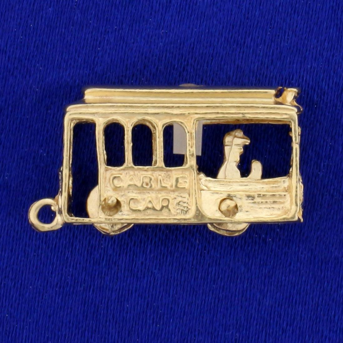 Mechanical San Francisco Cable Car Charm or Pendant in