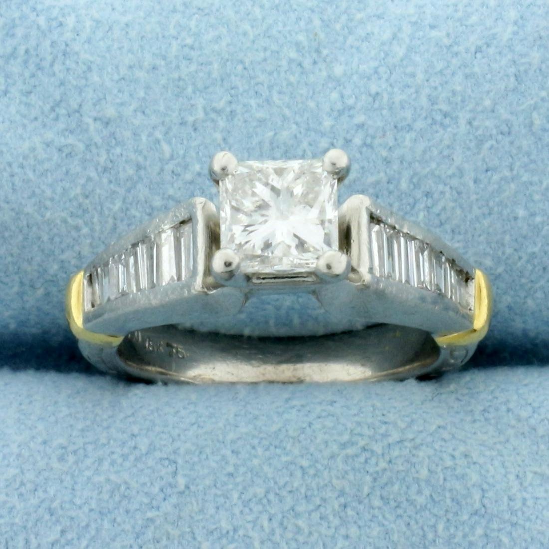 1.5ct TW Princess and Baguette Diamond Engagement Ring