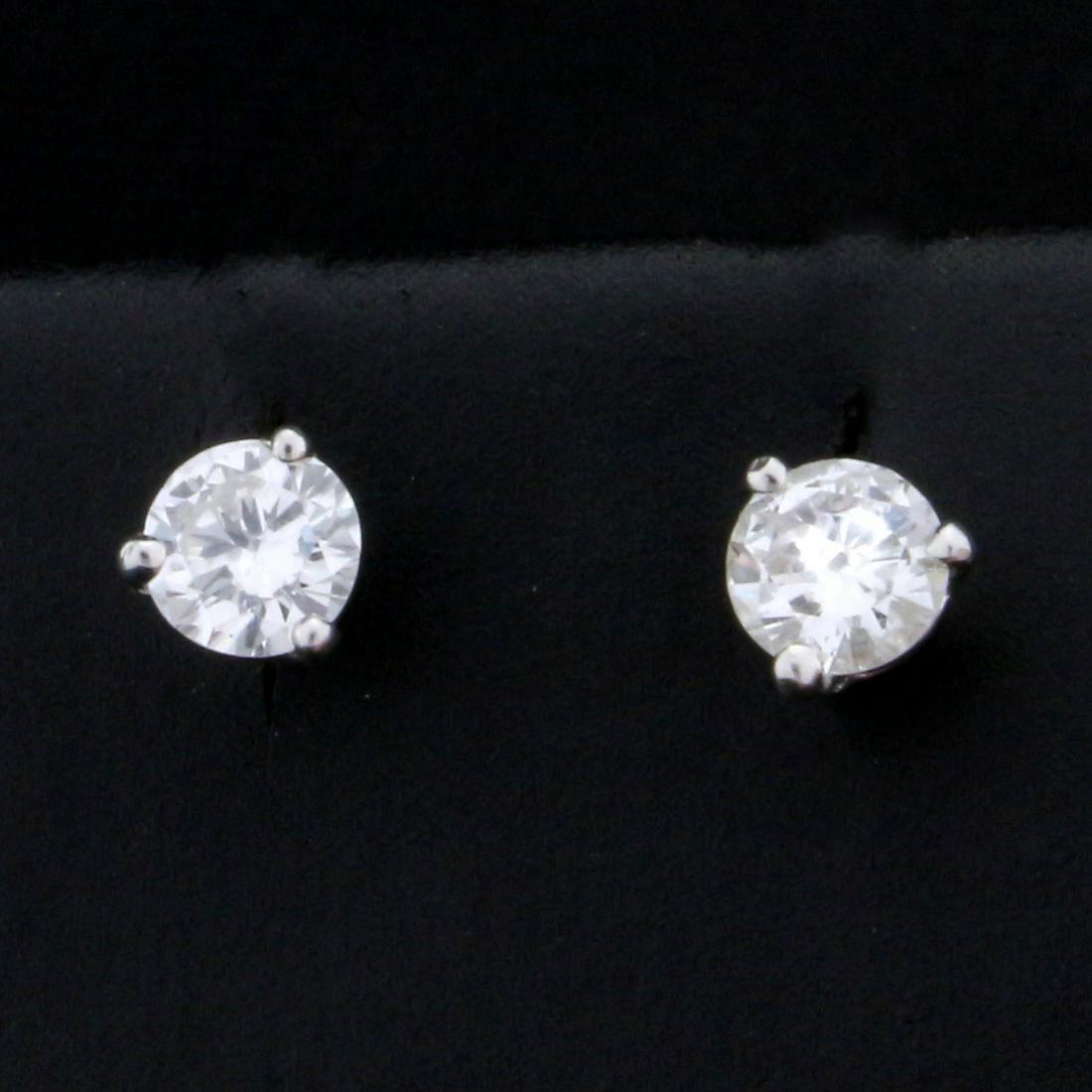 1/2ct TW Diamond Stud Earrings in Platinum Basket