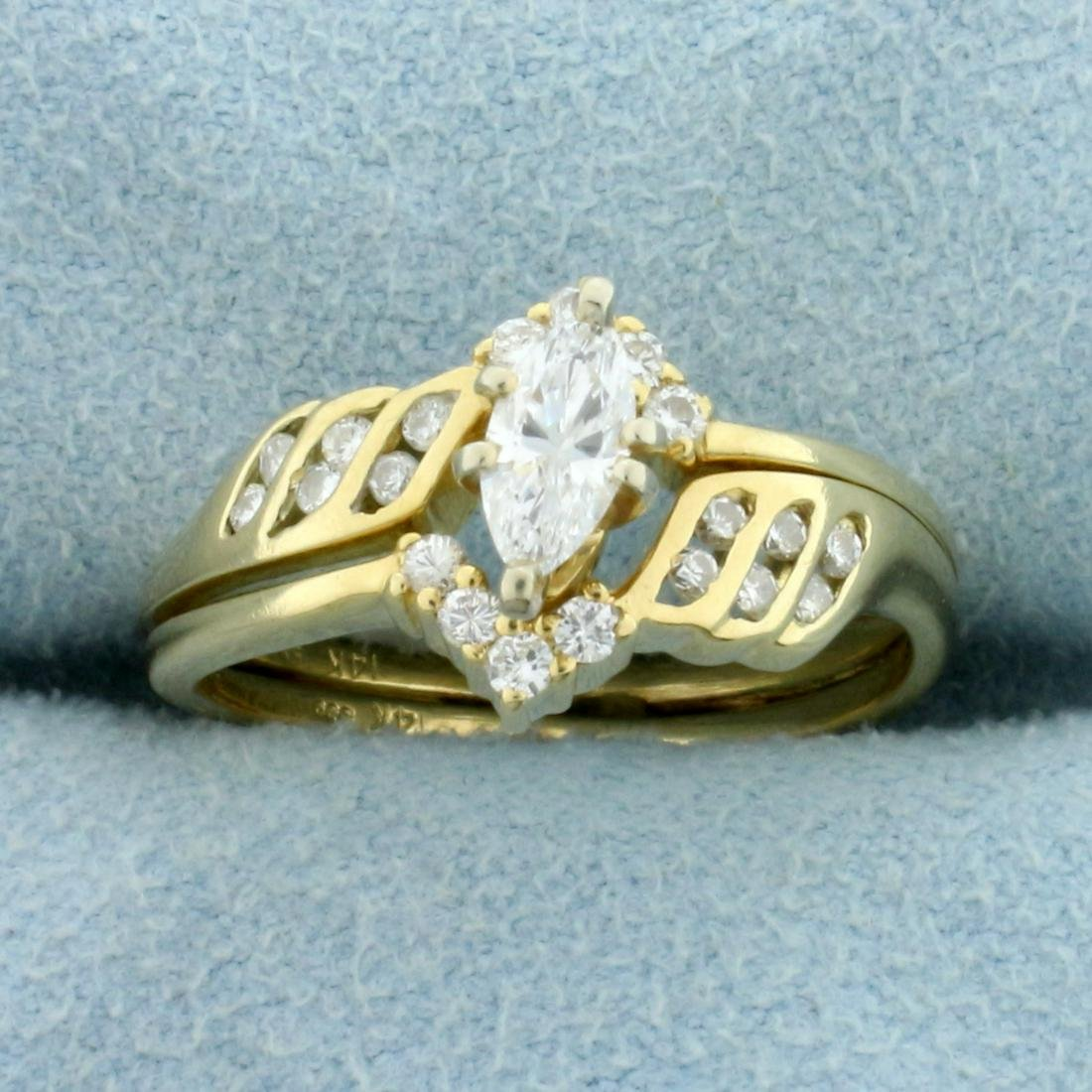 1/2ct TW Marquise Diamond Engagement Ring in 14K Yellow