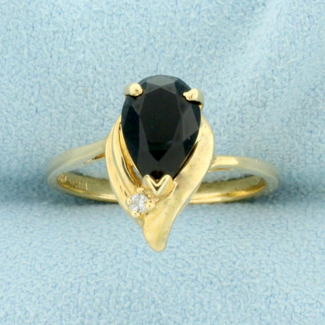 Vintage Onyx and Diamond Ring in 14K Yellow Gold