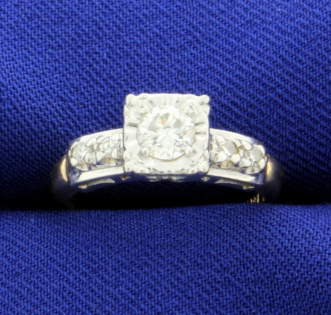 Vintage 1/2ct TW Diamond Engagement Ring