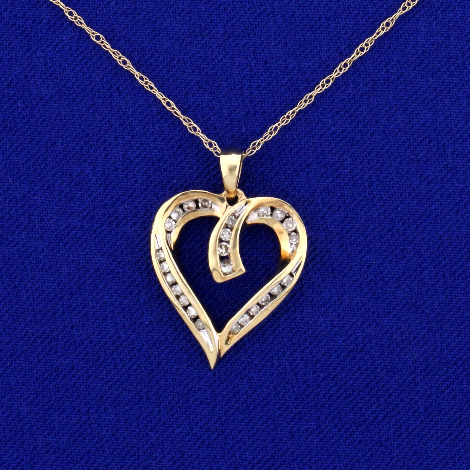 1/4ct TW Diamond Heart Pendant with Chain in 10k and