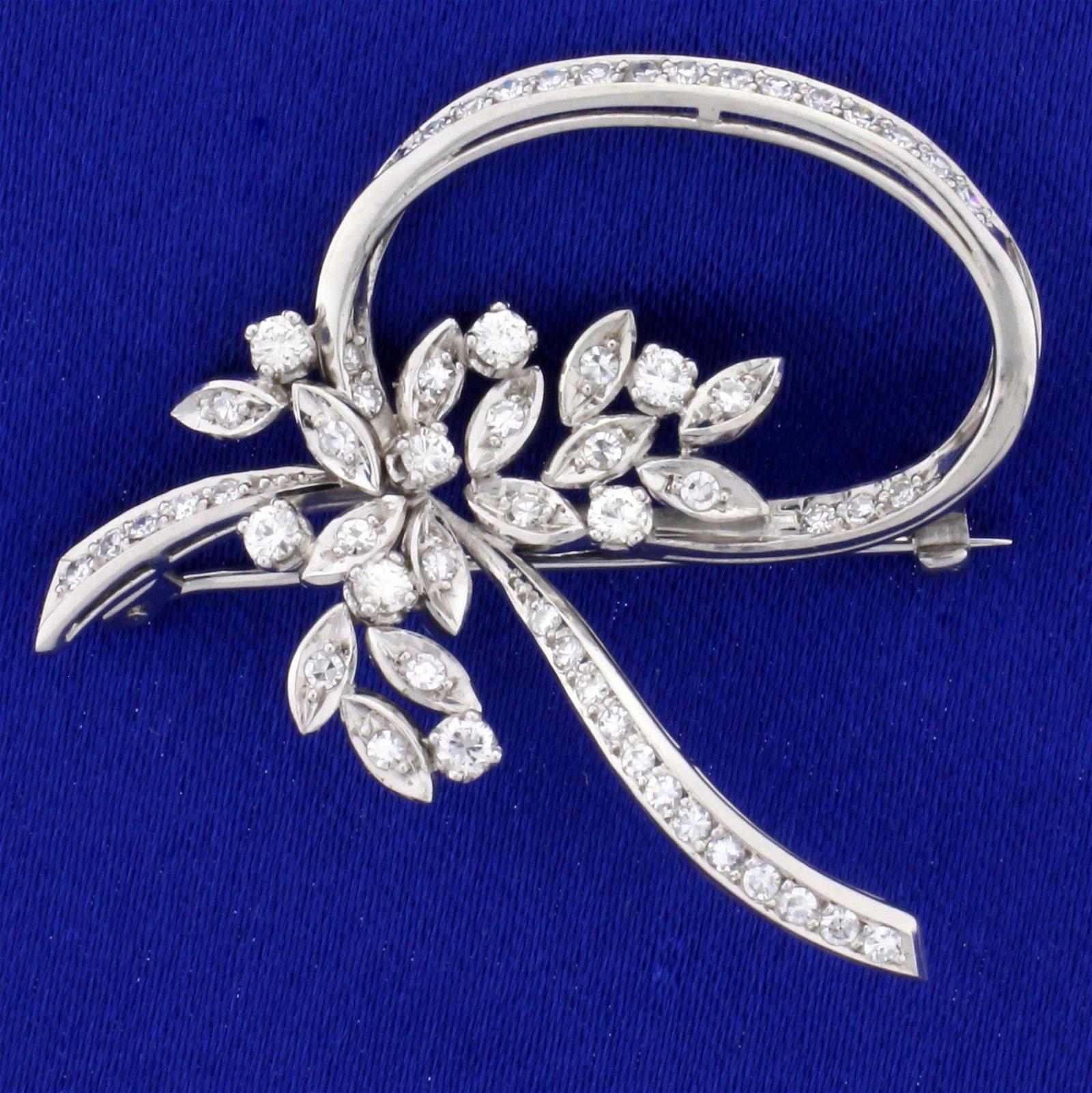 Vintage 1ct TW Diamond Ribbon Flower Design Pin in 18K