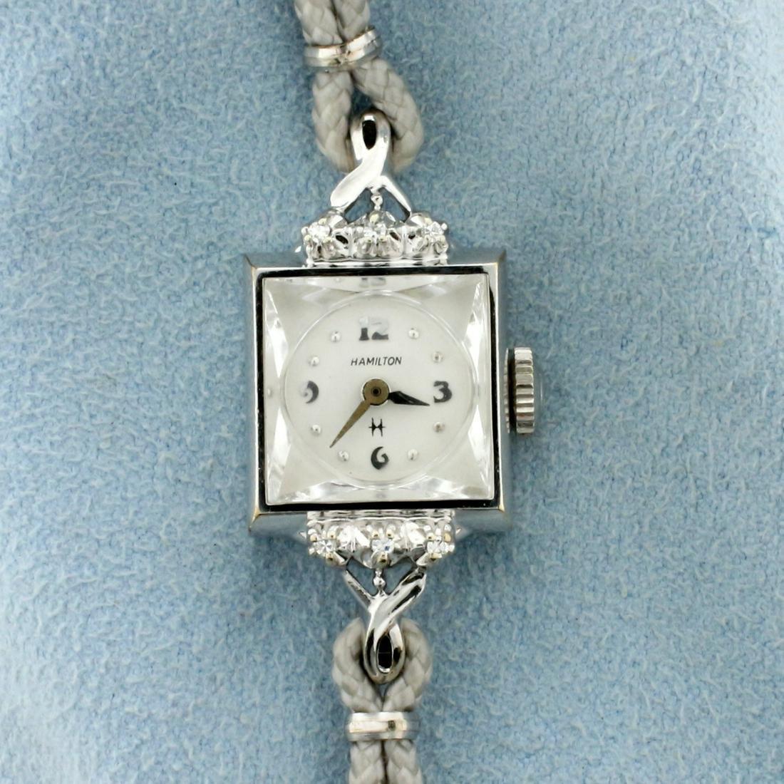Antique Hamilton Diamond Watch with Solid 10k White