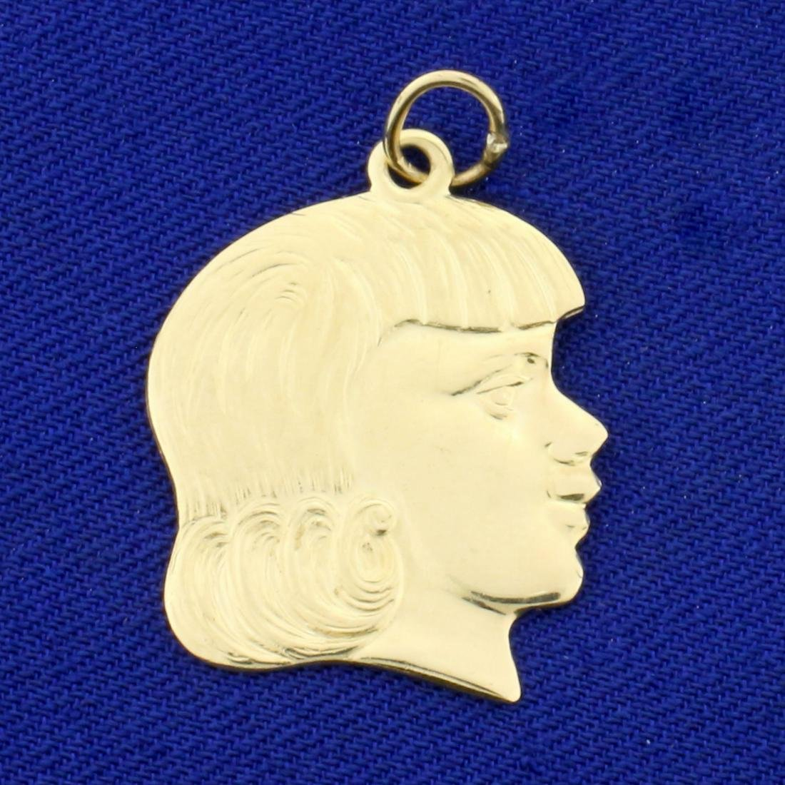Girl's Head Pendant or Charm in 14K Yellow Gold