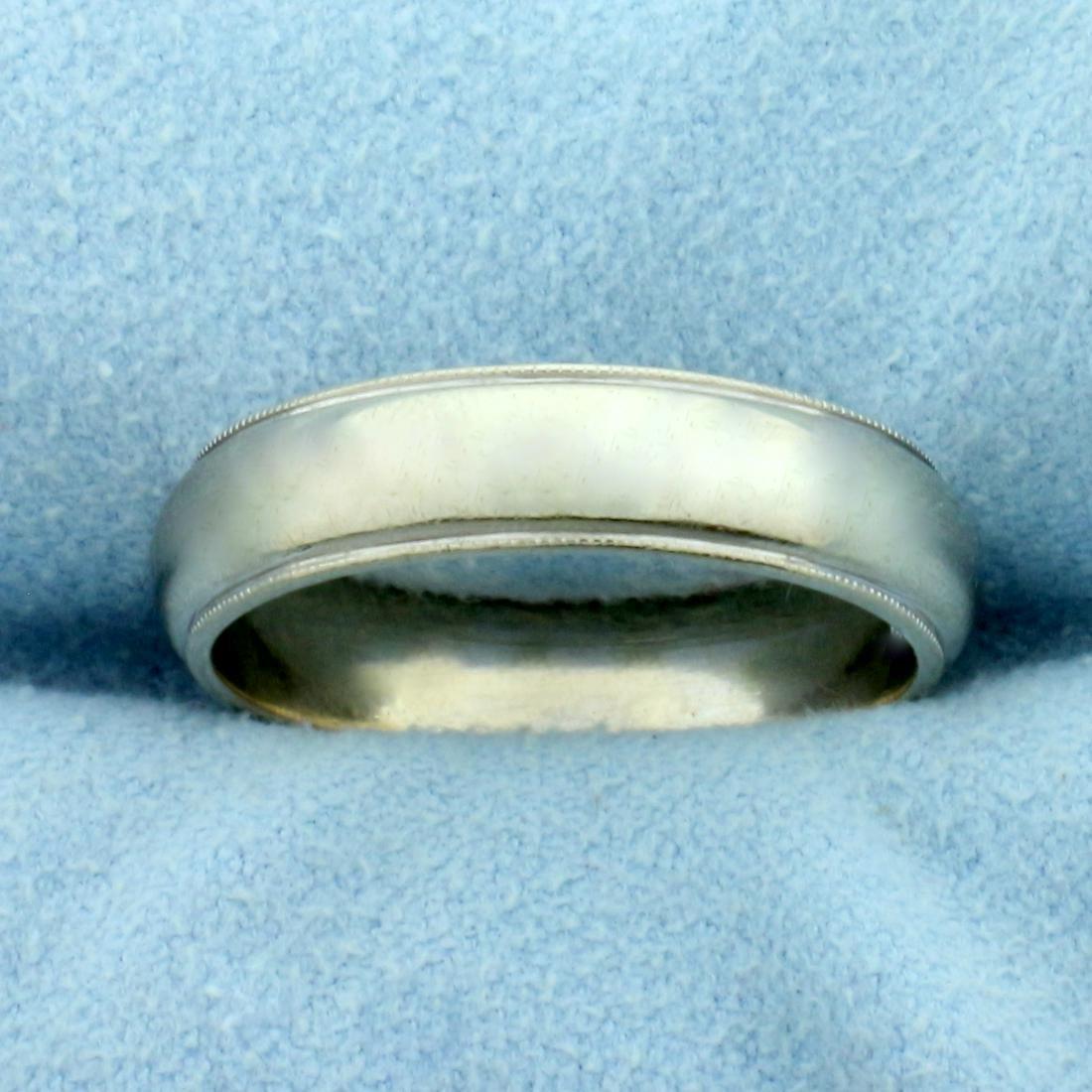 Milgrain Beaded Edge Wedding Band Ring in 14K White