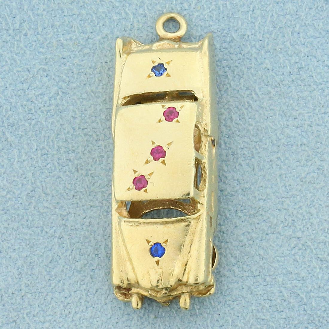 Vintage Car Sapphire Car Charm or Pendant in 14K Yellow
