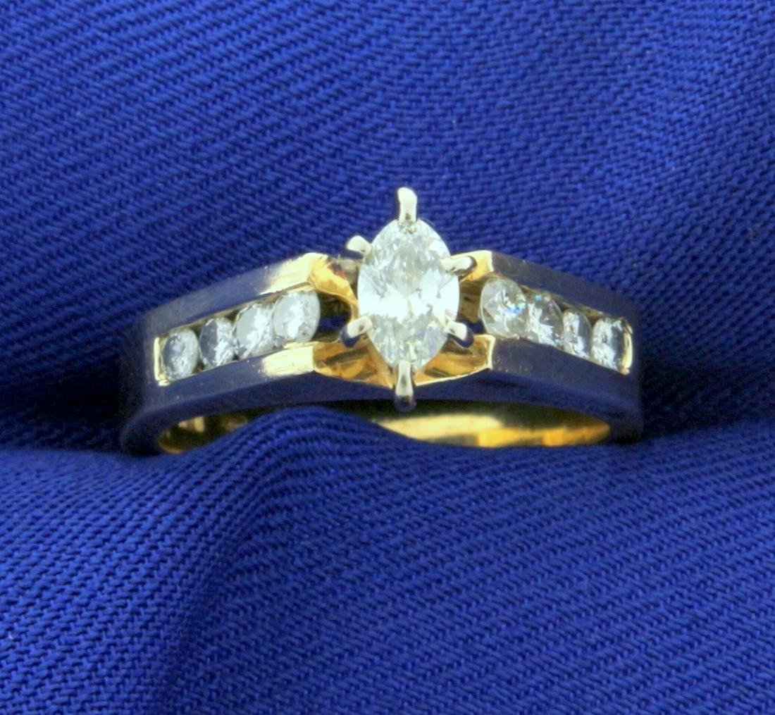 3/4ct TW Diamond Marquise Engagement Ring in 14k Yellow