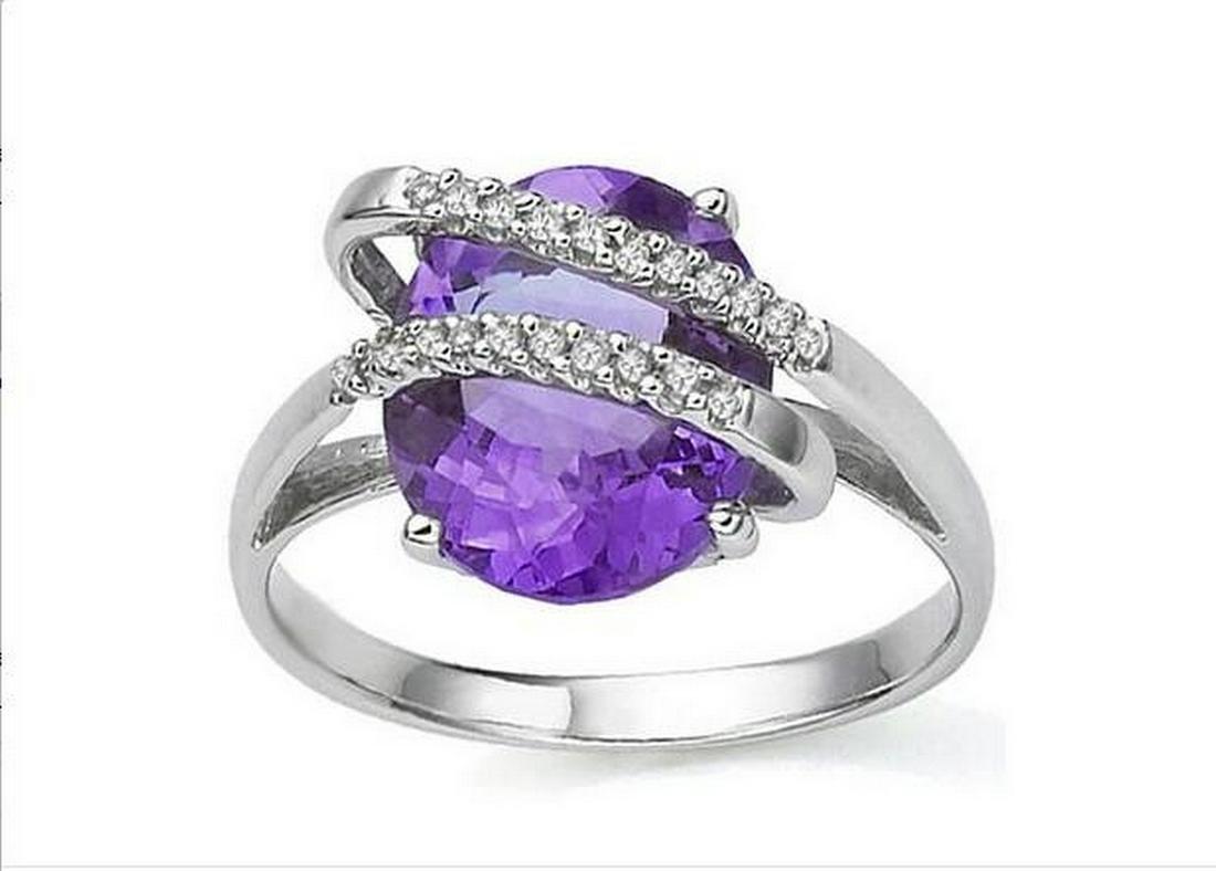 Huge 3.2CT Amethyst & Diamond Ring in Sterling Silver