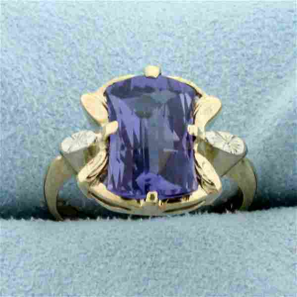 Vintage Purple Sapphire Ring in 10K Yellow and White