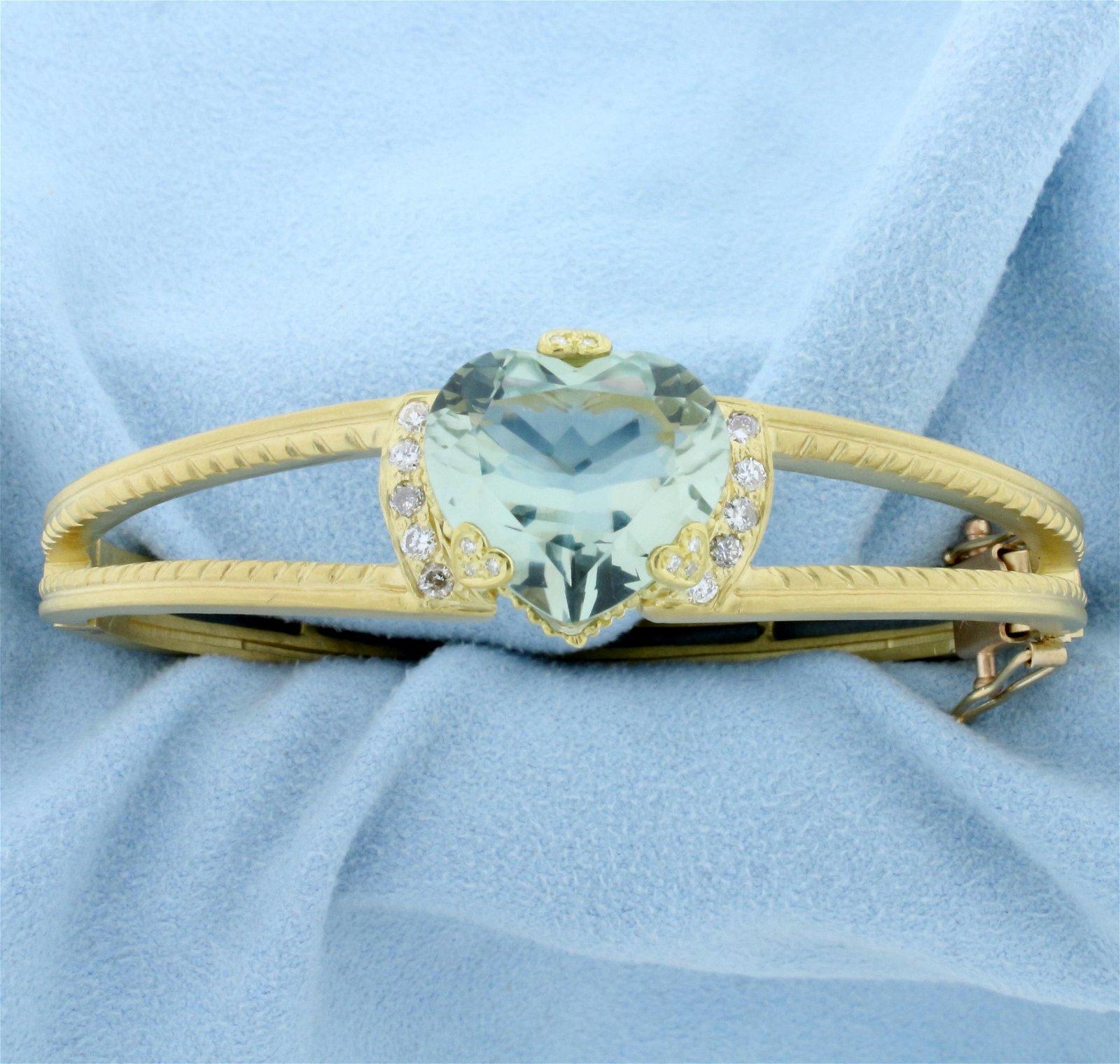 Designer Green Spinel Heart and Diamond Bangle Bracelet