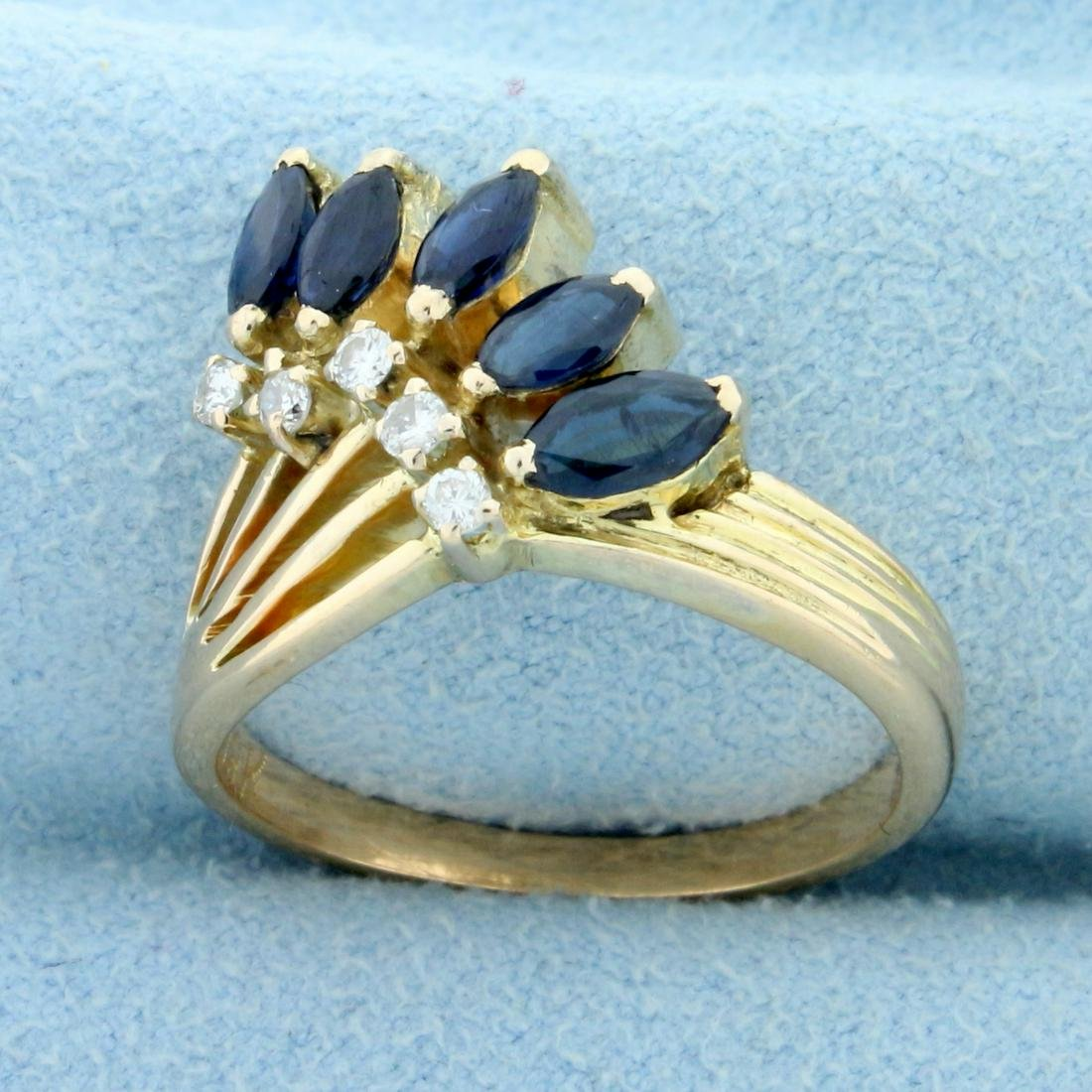 Unique Vintage Sapphire and Diamond Ring in 18K Yellow