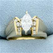 1ct TW Certified Marquise Diamond Engagement Ring in