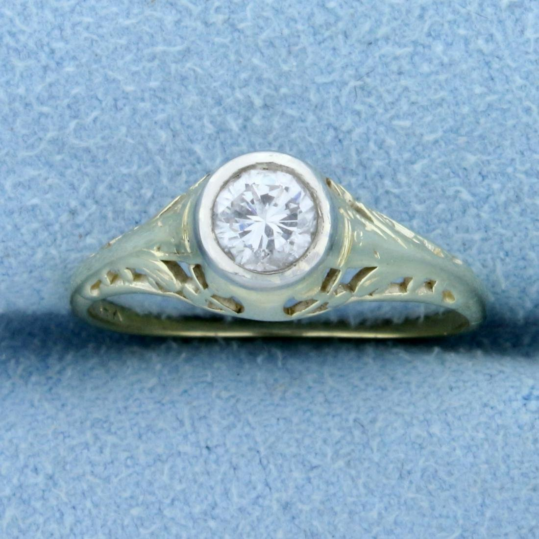 Filigree Edwardian Solitaire .4ct Diamond Ring in 14K