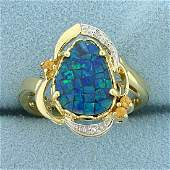 Black Opal Doublet, Heliodor, and Diamond Ring in 10K