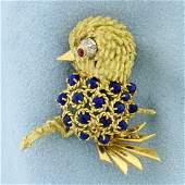 Italian Made Lapis, Ruby, and Diamond Bird Pin in 18K