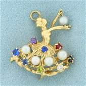 Vintage Pearl and Gemstone Ballerina Pendant in 14K