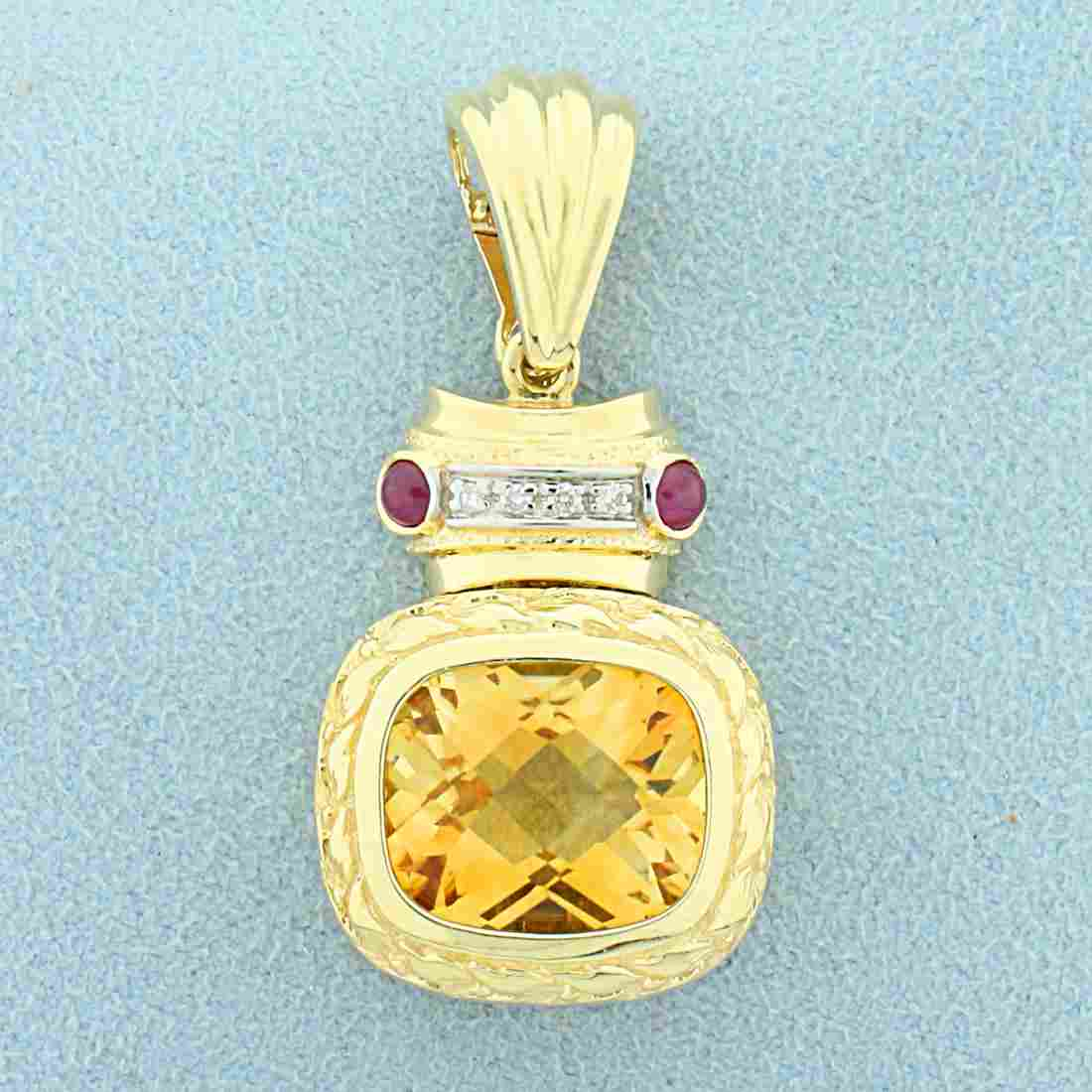 Citrine, Ruby, and Diamond Pendant in 14K Yellow Gold