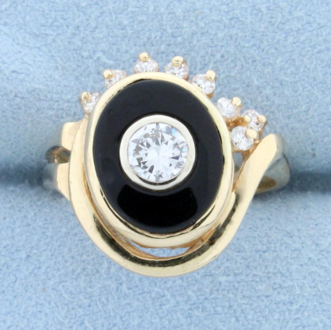 Vintage 3/4ct TW Diamond and Onyx Evil Eye Ring in 14K