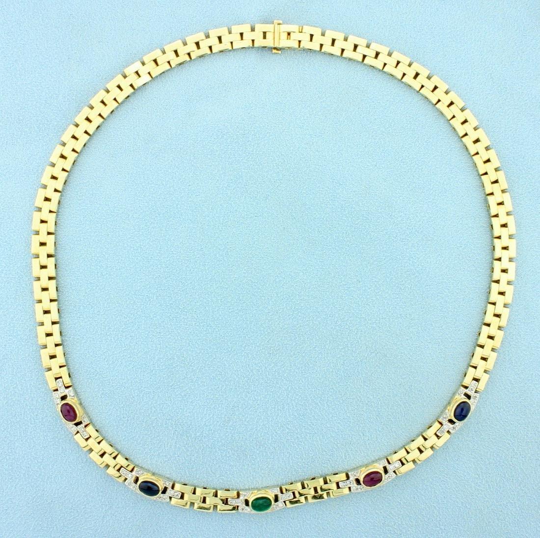 Natural Ruby, Sapphire, Emerald, and Diamond Cabochon
