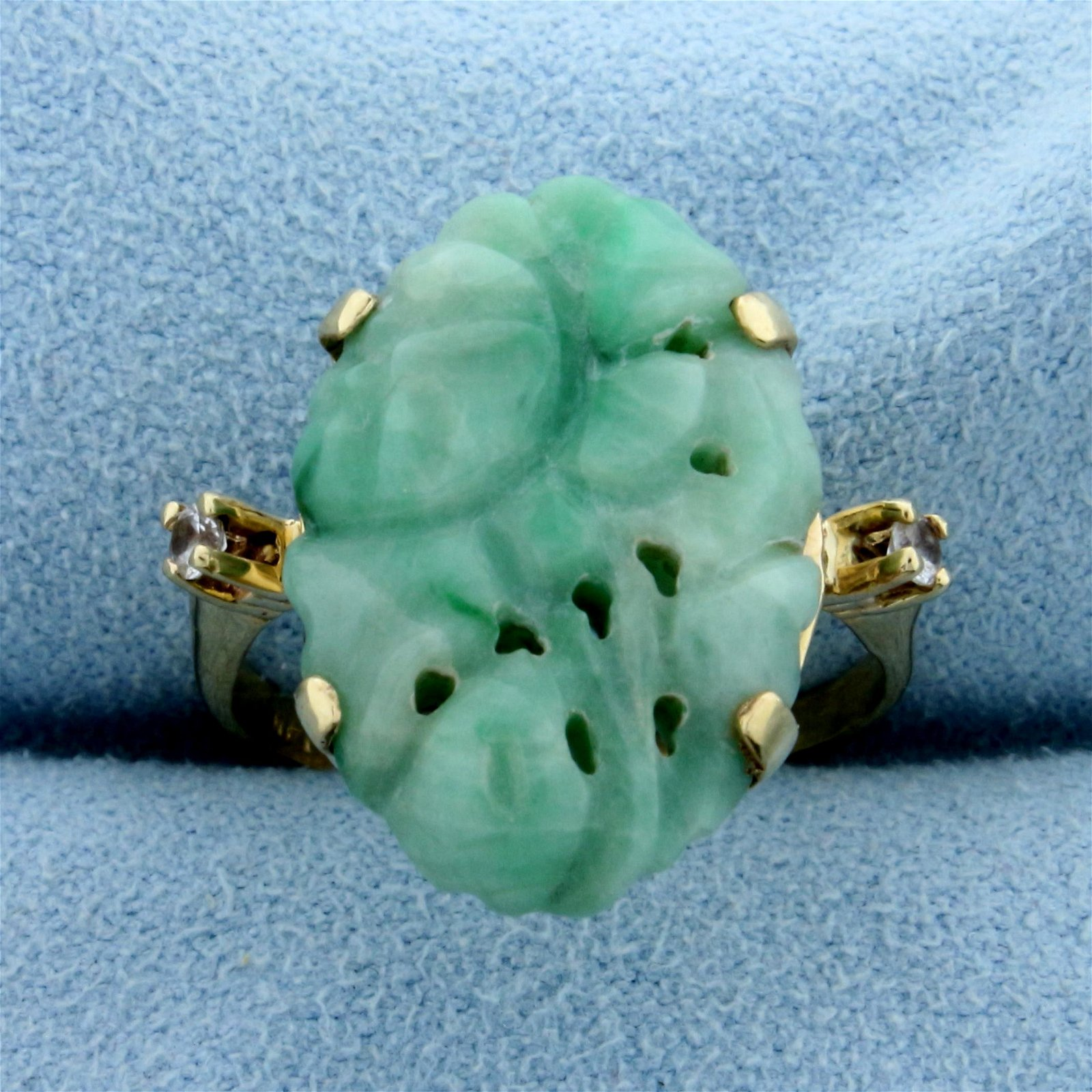 Natural Jade and White Sapphire Statement Ring in 14K