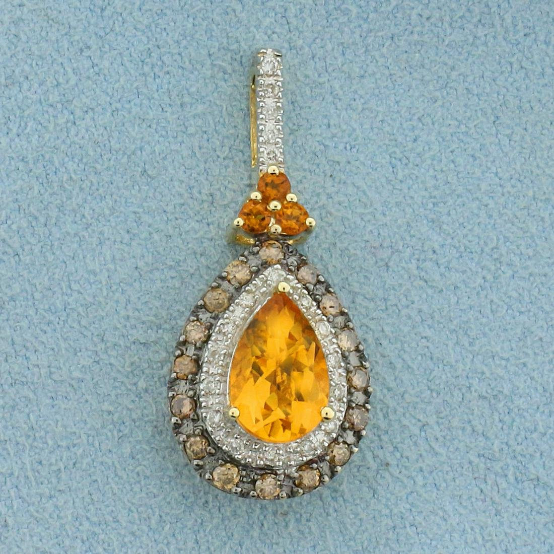 2ct TW Citrine and Diamond Pendant in 14K Yellow Gold