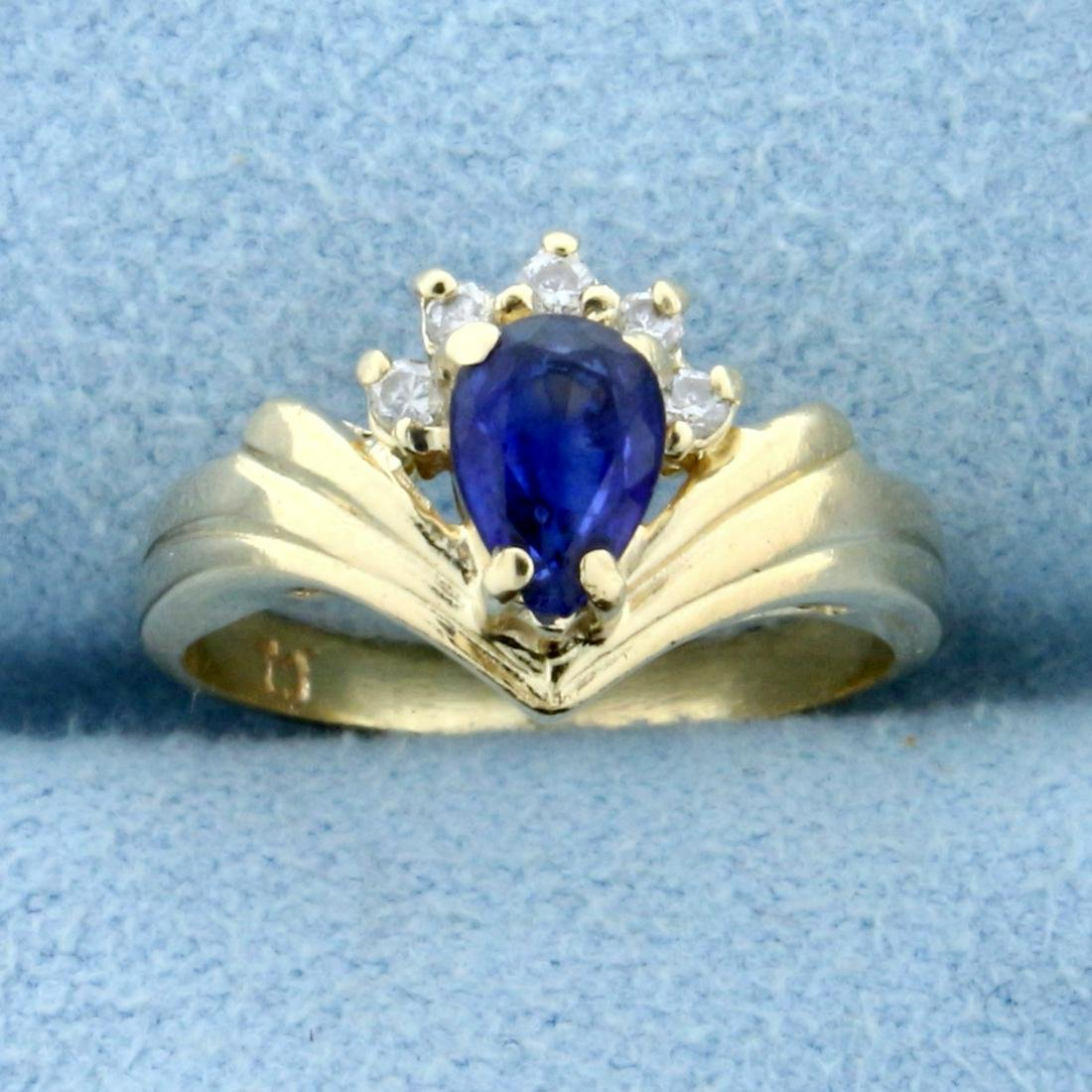 Pear Shaped Sapphire and Diamond Ring in 14K Yellow