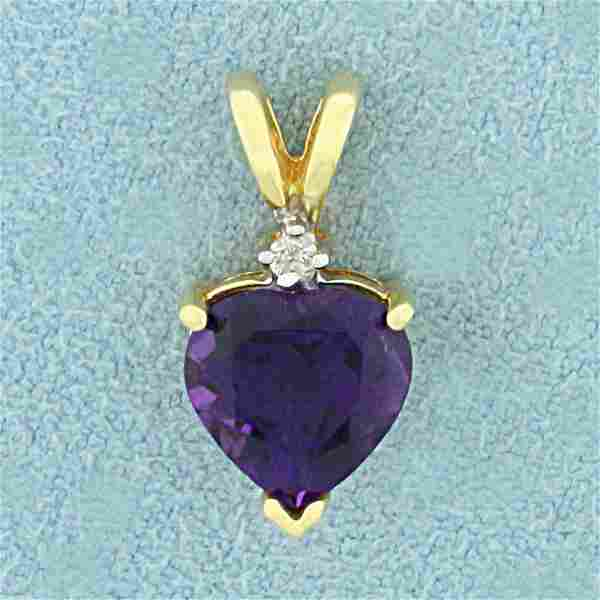 Amethyst and Diamond Heart Pendant in 10K Yellow Gold