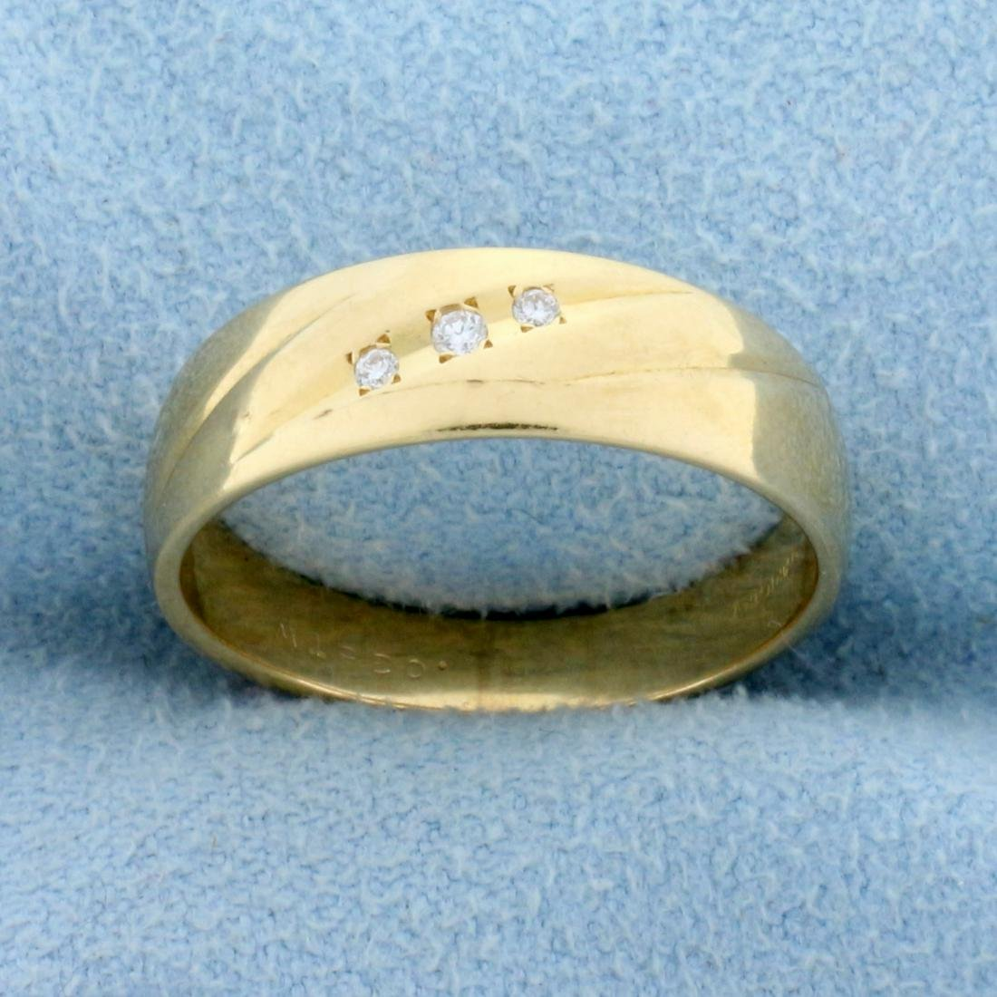 3-Stone Diamond Wedding or Anniversary Band Ring in 14K