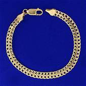 7 Inch Italian Made Double Curb Link Chain Bracelet in