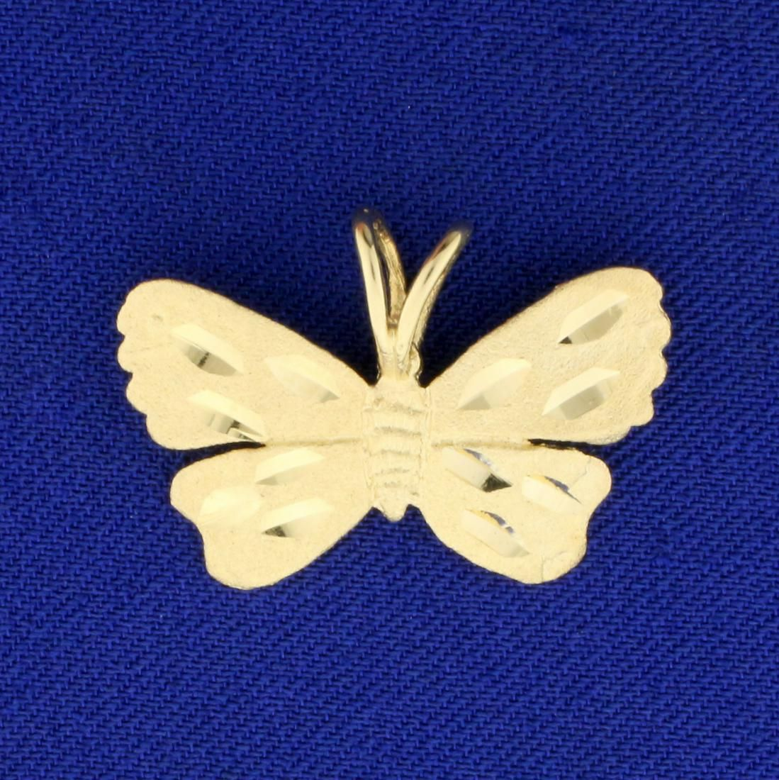 Diamond Cut Butterfly Pendant in 14K Yellow Gold