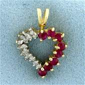 12CT TW Ruby and Diamond Heart Pendant in 14k Yellow