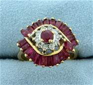 Vintage Natural Ruby and Diamond Ring in 14K Yellow
