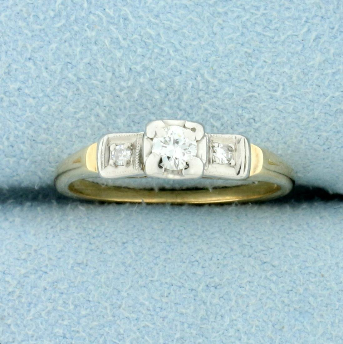 Vintage Three-Stone Diamond Ring in 14K Yellow and