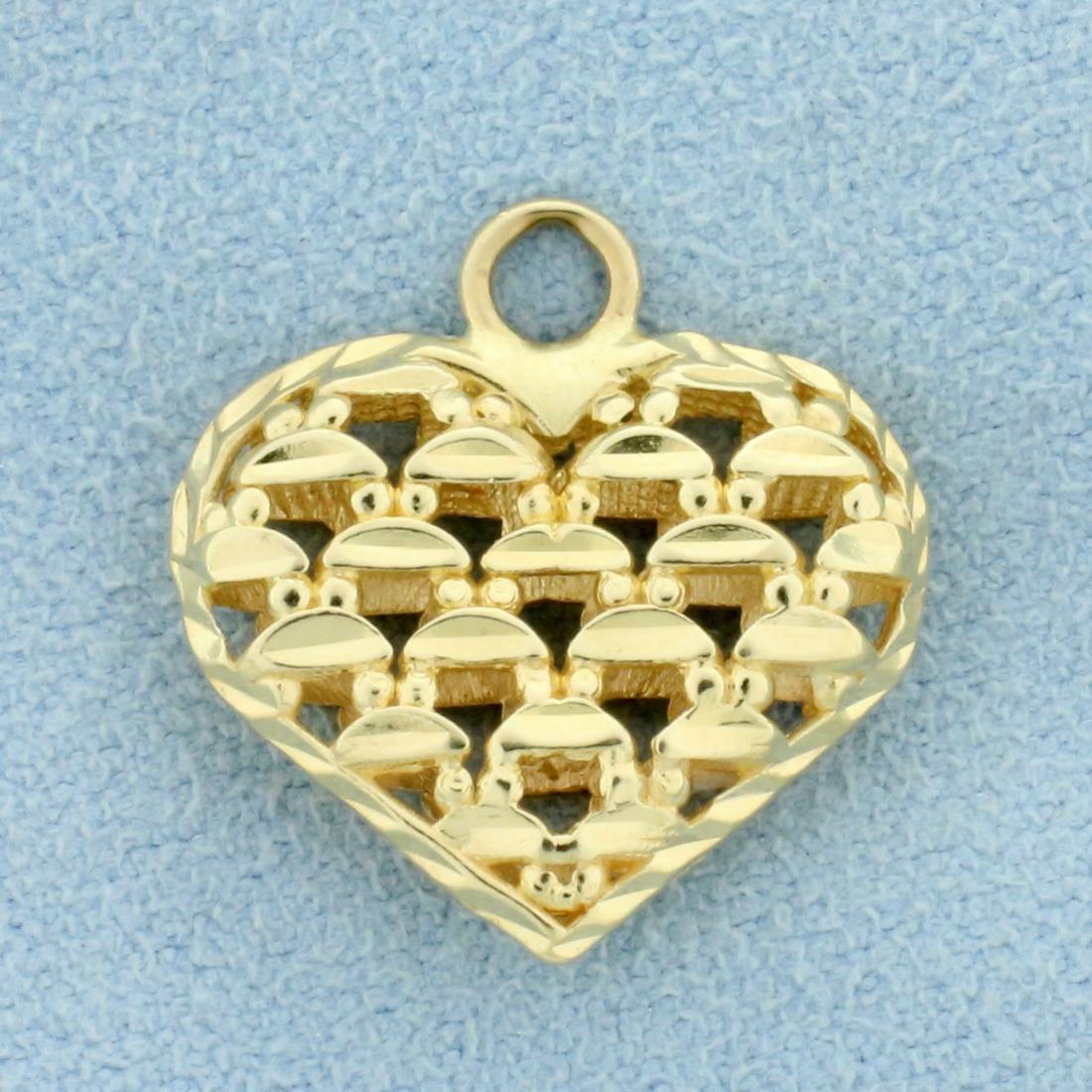 Unique Heart Pendant in  14K Yellow Gold
