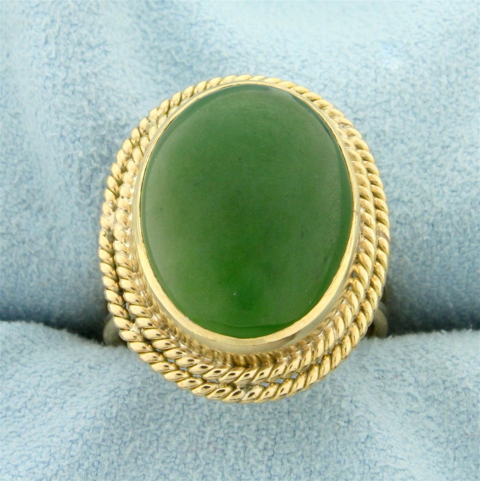 Vintage Oval Jade Ring in 14K Yellow Gold