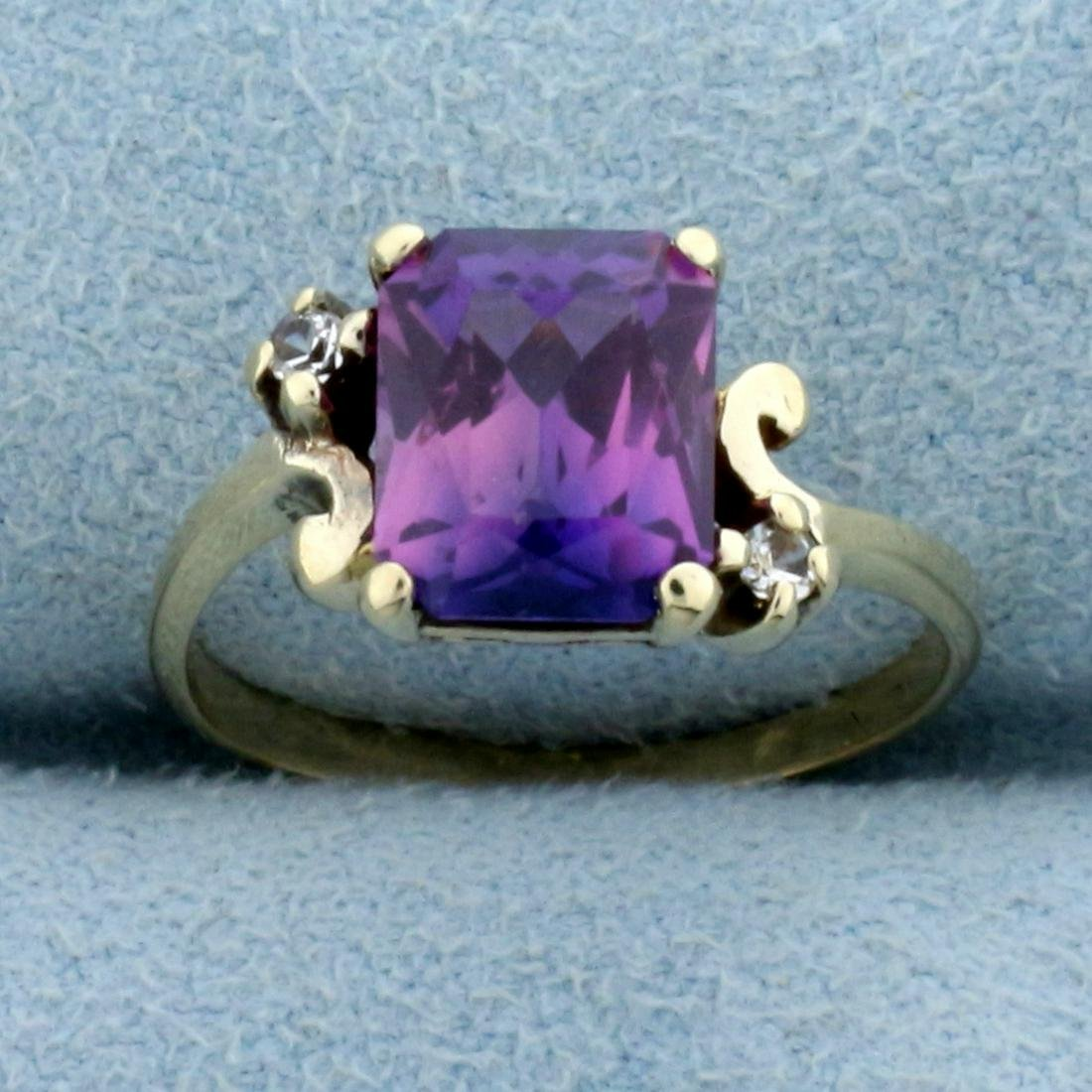 Vintage 2.5ct Tw Purple and White Sapphire Ring in 14k