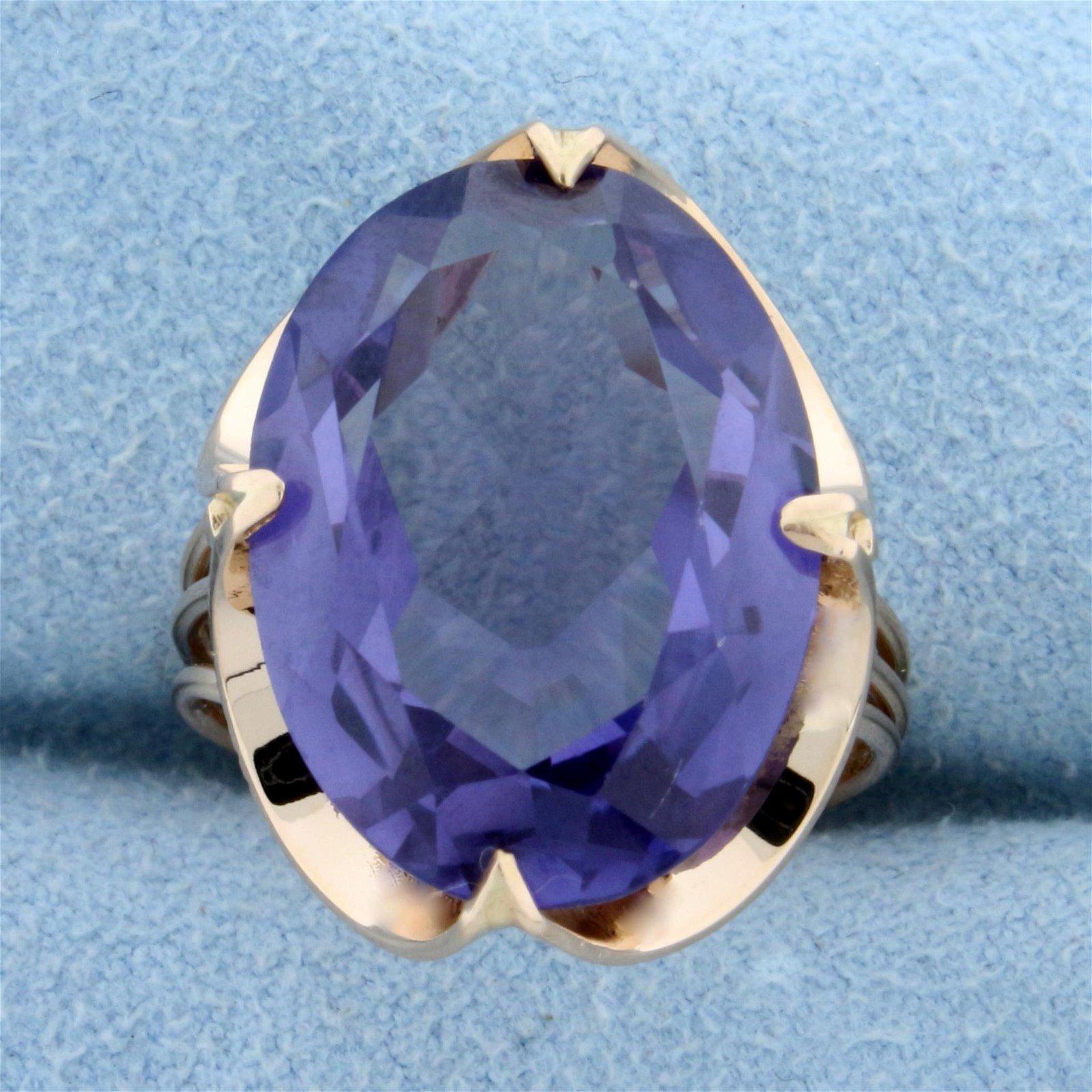 Vintage Large 15ct Purple Sapphire Ring in 14K Rose