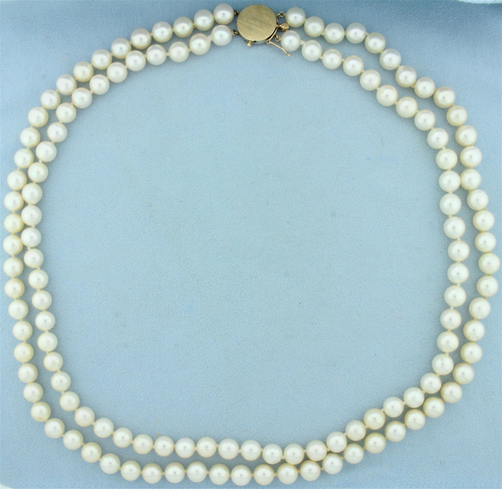 Vintage 22 Inch Double Strand Akoya Pearl Necklace with