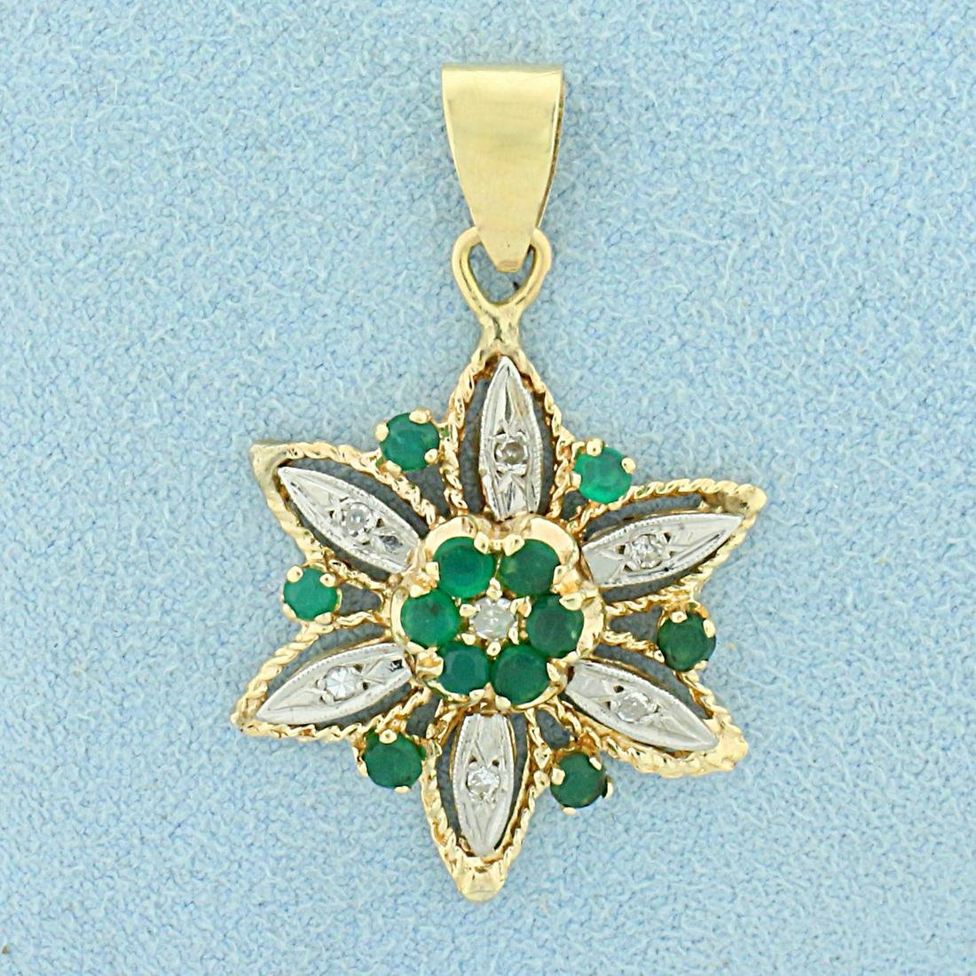 Vintage Emerald and Diamond Flower Pendant in 14K