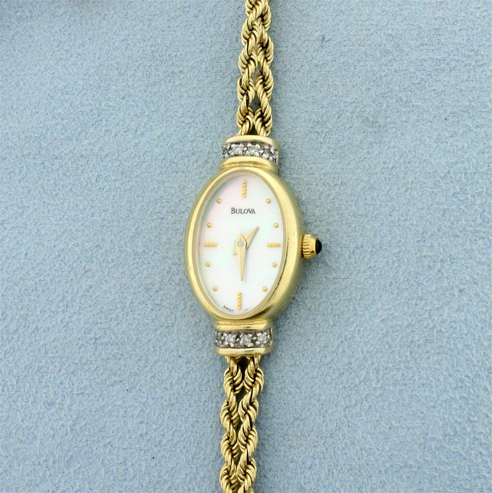 Bulova Diamond Rope Design Women's Watch in Solid 14K