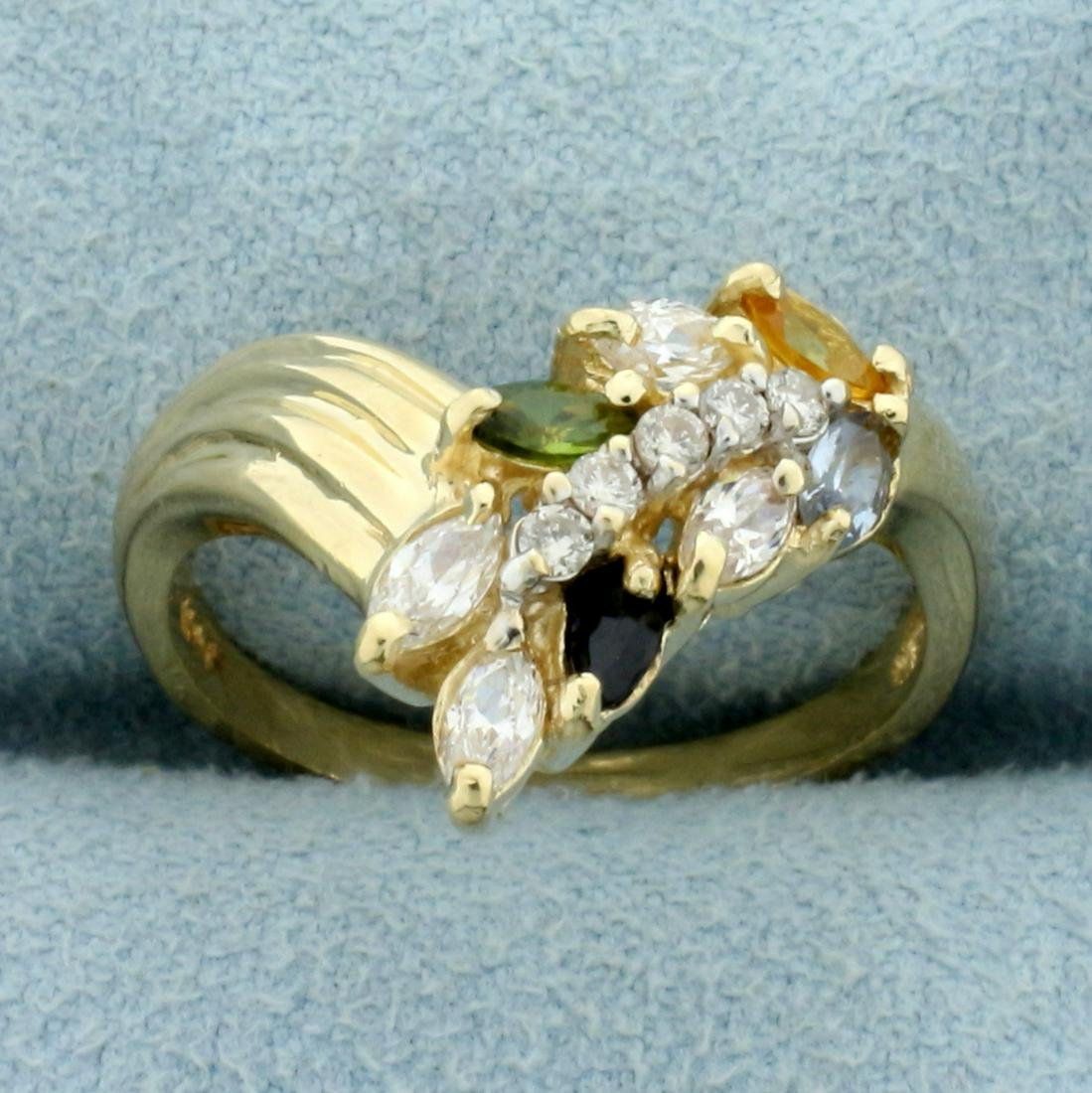 Diamond and Colored Gemstone Wheat Design Ring in 14K