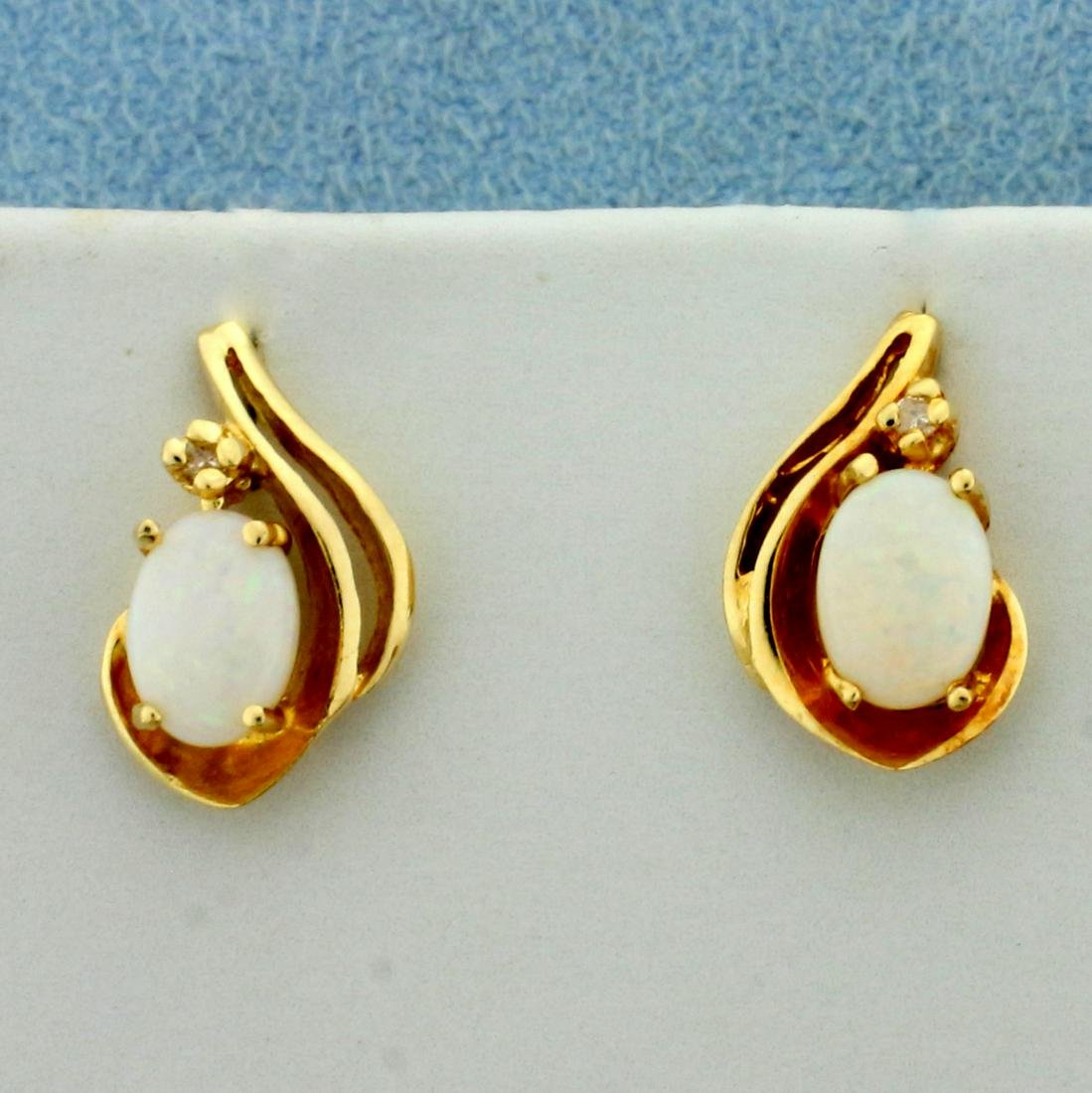 Natural Opal and Diamond Earrings in 14K Yellow Gold